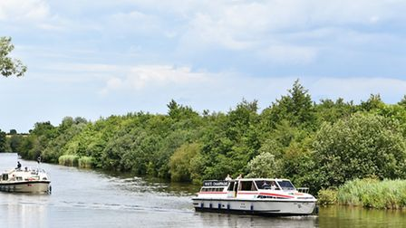 Boats on the water at Ranworth in the heart of the Norfolk Broads.Picture: James Bass