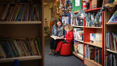 Rocklands Primary School appeal for a new library and new books. Pupil Florence Spratt, 4, with her
