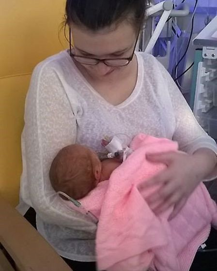 Emma Harris with baby Maddie who she had to give birth early to ahead of cancer treatment. Picture: