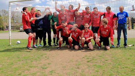 Happier times in 2013 when Foulsham celebrated their promotion to senior football in the Division On