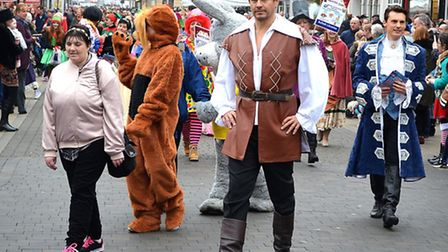 The fairytale parade in Lowestoft town centre on December 10, 2016. Centre, Jeremy Edwards plays Gas