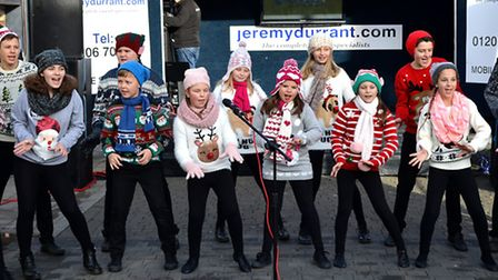 Music and dance at the Rock Around The Christmas Tree event in Lowestoft town centre. Cantors Theatr
