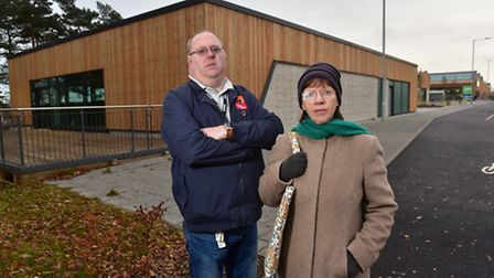 Ian Wells and Lynda Thain outside the newly built Harford community centre. Asda store are not suppl