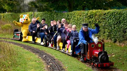 Pudsey Bear visiting Eaton Park Miniture Railway to raise money for Children in Need.Picture: ANTONY