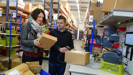 Lisa Angel talks to warehouse manager Ashley Smith shortly after the opening of the firm's new wareh
