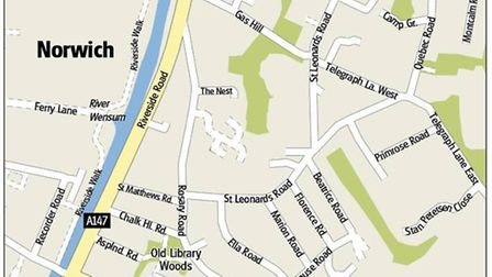 Map of the area around Rosary Road, showing Old Library Woods