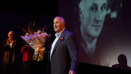 Outgoing chief executive Peter Wilson's farewell during the Theatre Royal's AGM, with actor Martin S