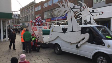 Santa arriving on his sleigh in Great Yarmouth town centre. Picture: Great Yarmouth Town Centre Part