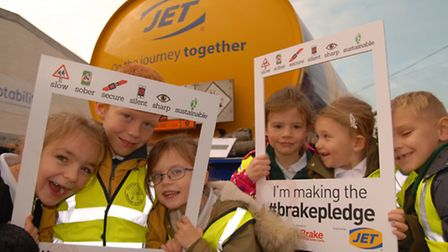Pupils having fun learning during Road Safety Week at A W & D Hammond Jet filling station. Picture: