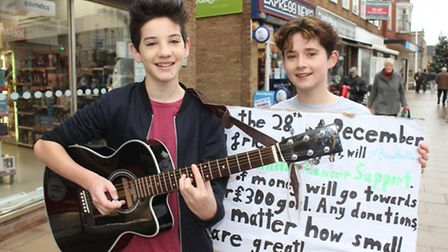 Fourteen-year-old Cromer Academy students Fred Cooper and Megan Eacock, who are hoping to raise more