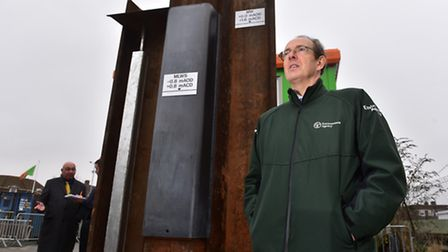 Environment Agenecy CEO Sir James Bevan by a full scale model of the Yarmouth tidal defence project