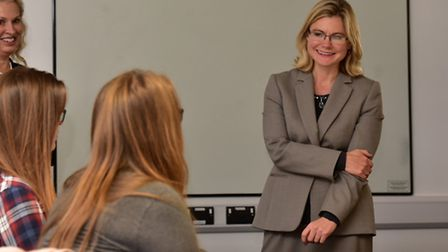 Secretary of State for education, Justine Greening visits City College, Norwich.PHOTO: Nick Butcher