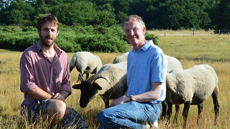 """Breaking New Ground's """"Sheep in the Brecks"""" project. Pictured from left: Project manager Peter Gould"""
