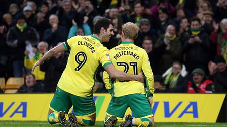 Alex Pritchard and Nelson Oliveira had plenty to celebrate against Brentford. Picture by Paul Cheste
