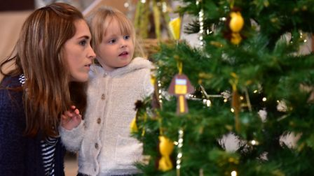 The Wymondham Wynterfest 2016.Grace-May Frost with her mum, Laura, at the Christmas tree exhibition
