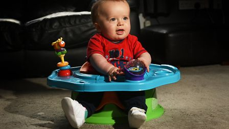 Baby Oscar Radford, 7 months, who has flat head syndrome.Picture: ANTONY KELLY