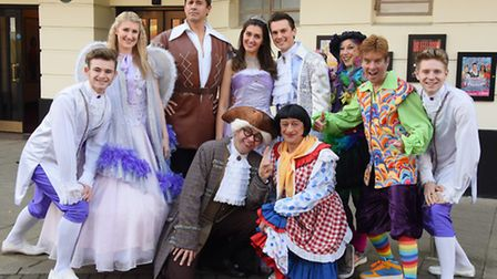 The cast of Beauty and the Beast panto at the Marina Theatre, Lowestoft. Back from 2nd left, Mary Re