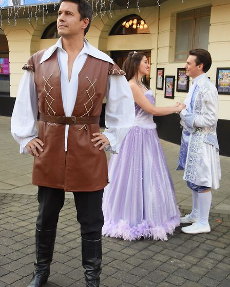 Gaston, left, played by Jeremy Edwards, with Belle (Rosie Hale), and Prince Francois/Beast (Matthew