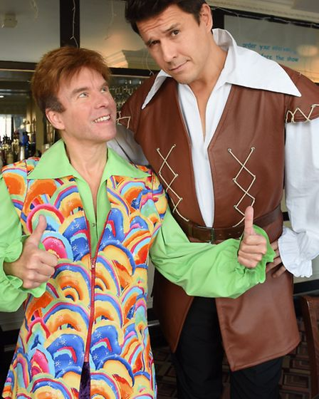 Jeremy Edwards, right, playing Gaston, and Terry Gleed as Freddy, in the Beauty and the Beast panto