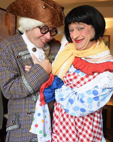 Dame Cherie Trifle, played by Fenton Gray, with Professor Crackpot, played by Graeme Henderson, in t