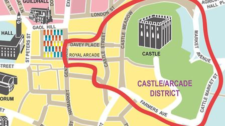 The Castle Arcade district map which could be shortlisted for the Great British High Street competit