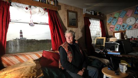 Happisburgh Beach Road resident, Bryony Nierop-Reading, pictured in her caravan near the site of her