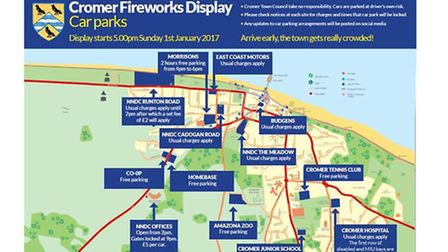 A map showing visitors where to park for the fireworks in Cromer.