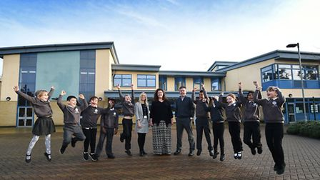 Lionwood Junior School celebrate their 'good' Ofsted result. Pupils pictured with, centre left to ri