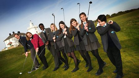 Launch of Royal Cromer Golf Club scholarship. Club professional Lee Patterson and club captain Jayne