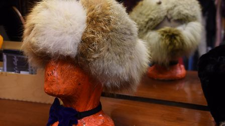A selection of fur hats at Heather Lovering's vintage stall at Norwich Market. Picture: DENISE BRADL