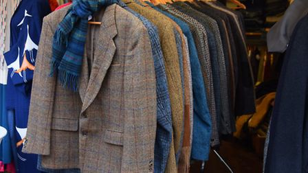 A selection of Harris Tweed jackets at Heather Lovering's vintage stall at Norwich Market. Picture: