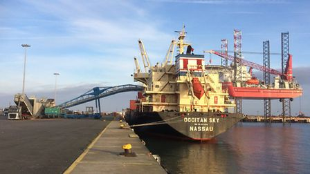 The MV Occitan Sky being loaded with 25,000 tonne of grain at Great Yarmouth grain terminal