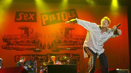 John Lydon of the Sex Pistols performs on stage at the Isle of Wight Festival 2008 at Seaclose Park