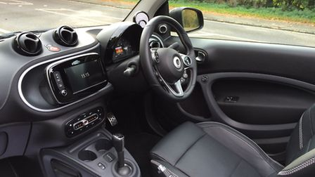 Two-seater Smart Fortwo Brabus cabrio cabin is surprisingly spacious. Picture: Andy Russell