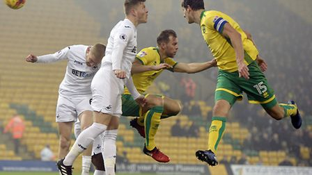 Timm Klose captained Norwich City's U21s in Tuesday's EFL Trophy exit against Swansea City's U21s. P