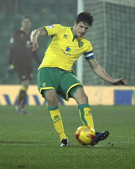 Timm Klose of Norwich City U23 against Swansea City U23 during the Checkatrade Trophy match at Carro