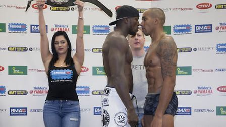 Jason Radcliffe, left, and Wilfred Edmund face-off after weighing in earlier today.