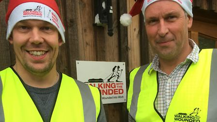 Duncan Slater, left, from Scole, and Ed Parker are taking part in a Walking Home for Christmas chari
