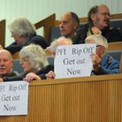 Protesters in the public gallery at County Hall during an incinerator debate. Picture: Denise Bradle