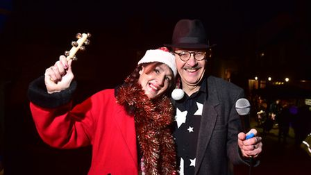 A fun Christmas afternoon was held at the Crown, Fakenham.Lisa Willis and Richard Tree on stage.PHOT