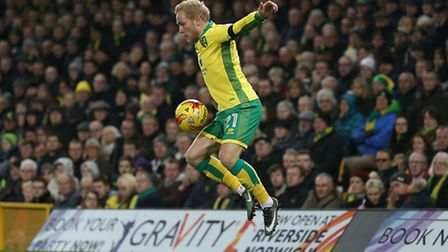 Alex Pritchard controls the ball during Norwich City's big win over his former club. Picture by Paul