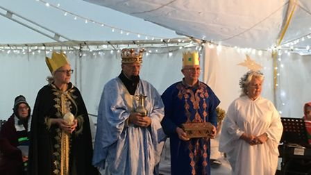 The three wise men in an outdoor nativity at St Mary's Church in Watton. Picture by Bethany Whymark