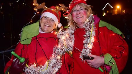 Wells Christmas Tide celebrations. Father Christmas helpers at the evening event.PHOTO: Nick Butcher