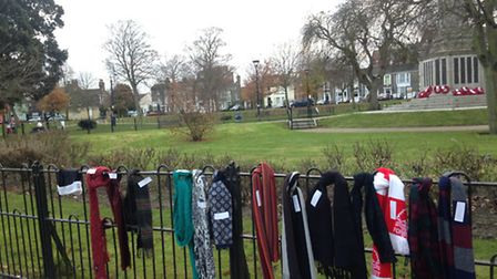 Scarves donated for homeless people in Great Yarmouth's St George's Park. Photo: George Ryan