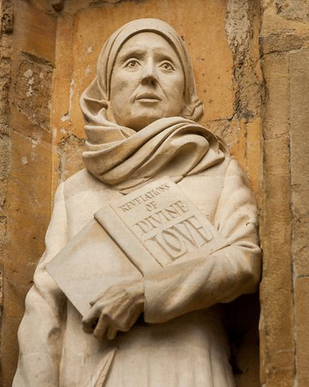 David Holgate's statue of Mother Julian, one of two commissioned for the west front of Norwich Cathe