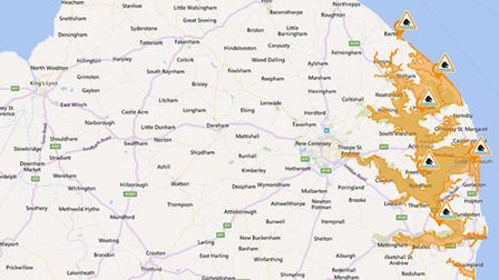 Flood alerts have been extended for the Norfolk and Suffolk coast, and rivers in the Broads. Photo: