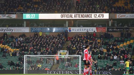 A half empty Carrow Road watches the action during the third round of the FA Cup at Carrow Road, Nor