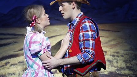 Mira Ormala as Joleyn and David Burilin as Jack in Norwich Theatre Royal's pantomime Jack and the Be