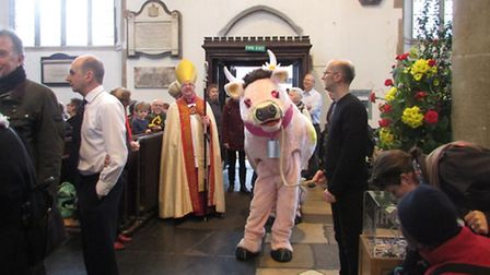 Daisy-Belle joined the rest of the Jack and the Beanstalk cast at the annual panto carol service at