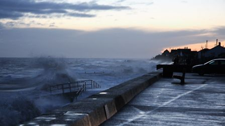 High tide at Walcott this morning (Friday, January 13). Picture: MAURICE GRAY